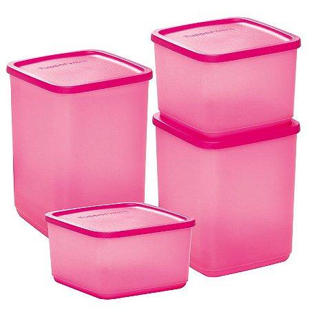 Tupperware Refri Line Quadrado Rosa kit 4 peças