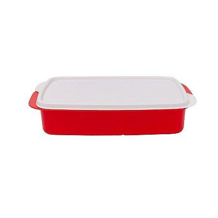Tupperware Basic Line Com Divisórias 1 litro Vermelho