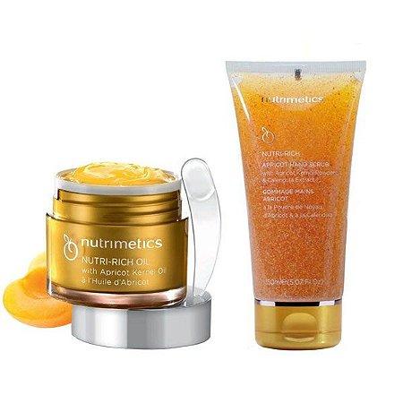 Nutrimetics Nutri-Rich Oil Manteiga Hidratante 60ml + Gel Esfoliante para Mãos com Semente de Damasco 150ml Grátis