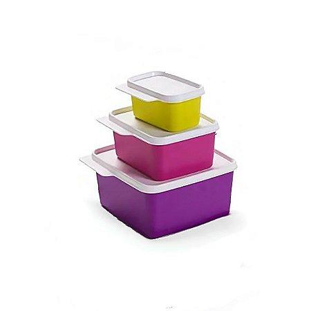 Tupperware Kit Basic Line Coloridas 3 peças
