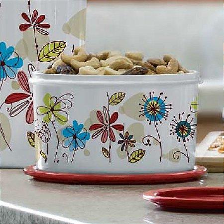 Tupperware Instantânea Pote Master Flores Decorado 1,5 litro