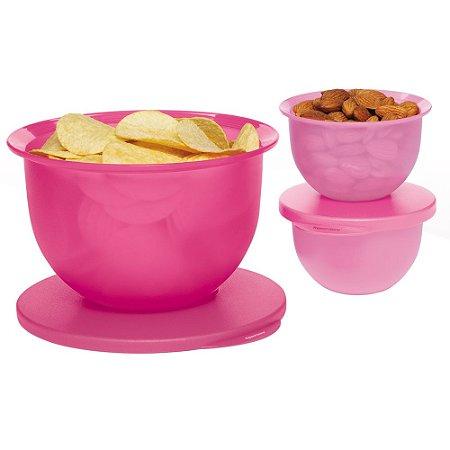 Tupperware Tigela Murano Rosa Kit 3 Peças