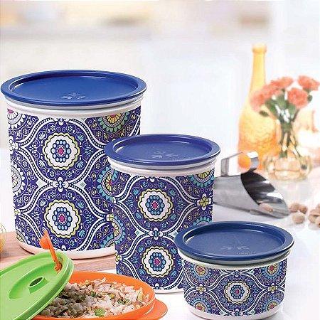 Tupperware Kit Super Instantânea Arte Persa Azul 3 peças