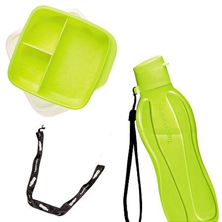 Tupperware Eco Tupper Plus 500ml + Basic Line com divisória 550ml Amarelo Neon + Mega Cordão Eco