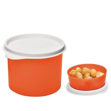 Tupperware Redondinha 500ml + Mini Snack Cup 70ml Laranja Neon kit 2 Peças