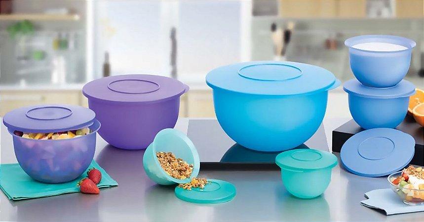 Tupperware Kit BEA Murano Azul Verde e Roxo 7 peças Nível 3