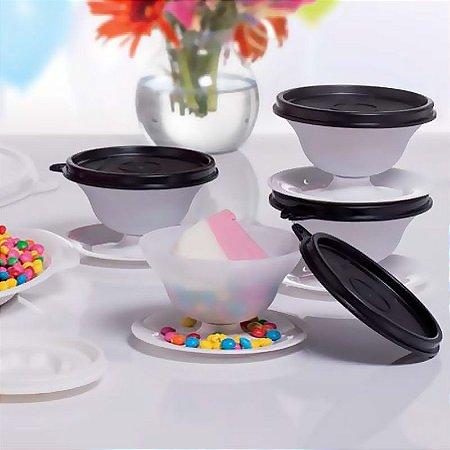 Tupperware Kit Tacinhas para Sobremesa 130ml Preta 4 peças