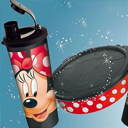 Tupperware Kit Minnie virou Copo 470ml + Minnie virou Pratinho 500ml preto e vermelho