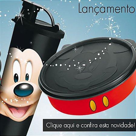 Tupperware Kit Mickey virou Copo 470ml + Mickey virou Pratinho 500ml preto e vermelho