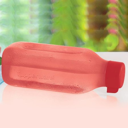 Tupperware Eco Tupper Garrafa Quadrada de Água 1 Litro Vermelha