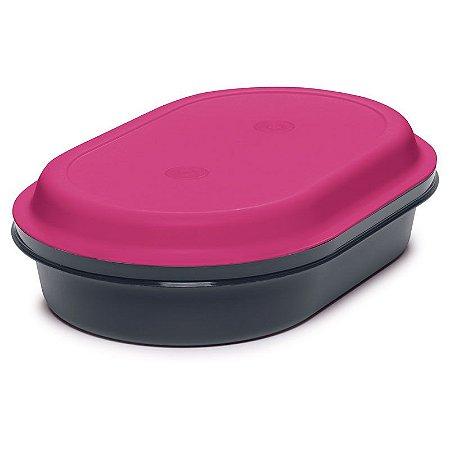 Tupperware Travessa Oval Actualité 2 litros Preto e Rosa