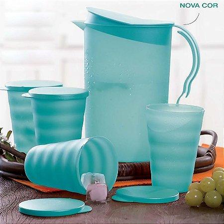 Tupperware Kit Jarra Murano 2 litros + 4 Copos Murano 500ml Verde Água 5 peças