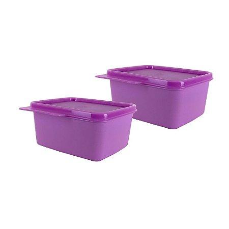 Tupperware Basic Line 500ml Rosa Kit 2 Peças