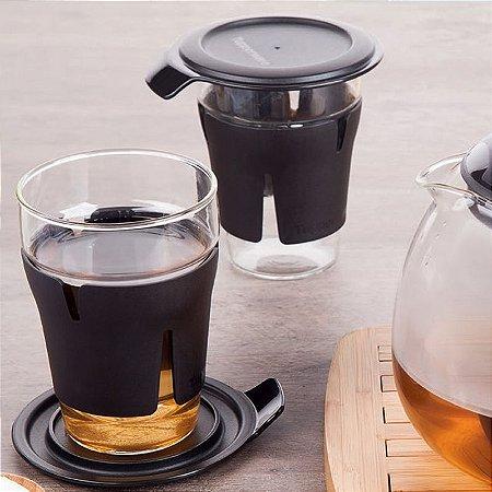 Tupperware Jogo de Copos Teaz Me 2 Peças Preto 330ml para Chá