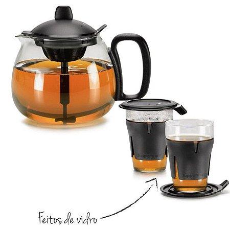 Tupperware Kit Chaleira Teaz Me 1,3 litro e Jogo de Copos 2 peças Preto para Chá