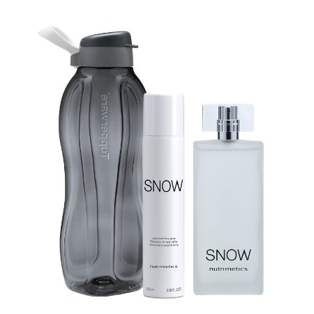 Garrafa Tupperware Eco Tupper Plus 1,5 Litro Cosmos + Nutrimetics Perfume e Desodorante Snow Corporal Spray Masculino 100ml