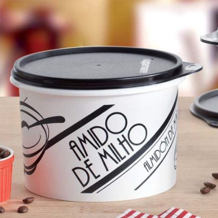Tupperware Caixa Amido de Milho 500g PB Retrô Preto e Branco