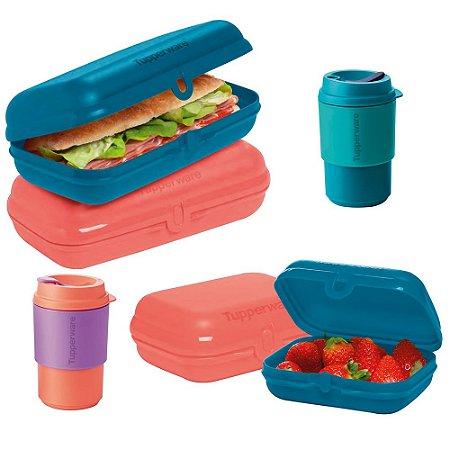 Tupperware Snack Pequeno e Grande + Copo para Viagem 350ml Kit 6 Peças