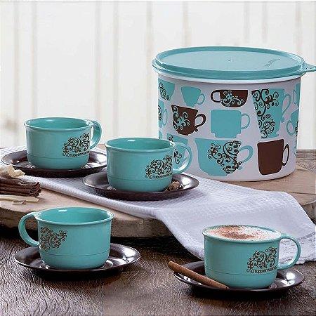 Tupperware Kit Caixa Gourmet 2,4 litros + 4 Xícaras de Café 180ml Verde Água