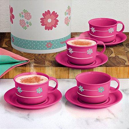 Tupperware Xícaras Provençal 150ml Rosa Kit 4 Peças