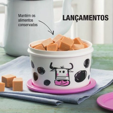 Tupperware Mini Instantânea Farm 575ml Branca e Rosa Vaquinha