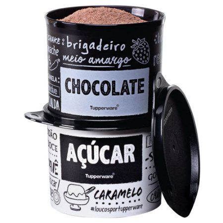 Tupperware Redondinha Chocolate e Açúcar PB kit 2 Peças