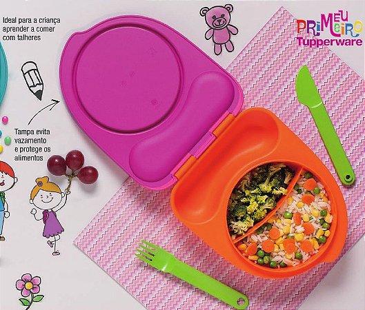 Tupperware Pratinho Infantil Rosa 500ml com Talheres