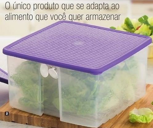 Tupperware Fresh Smart Quadrado 4,2 litros Transparente tampa Roxa
