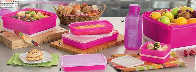 Tupperware Kit BEA Refri Box e Caixa 8 Peças Nível 3 Rosa 10-2015