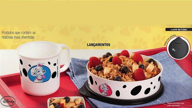 Tupperware Kit Caneca + Pratinho 101 Dálmatas Infantil Branco e Preto