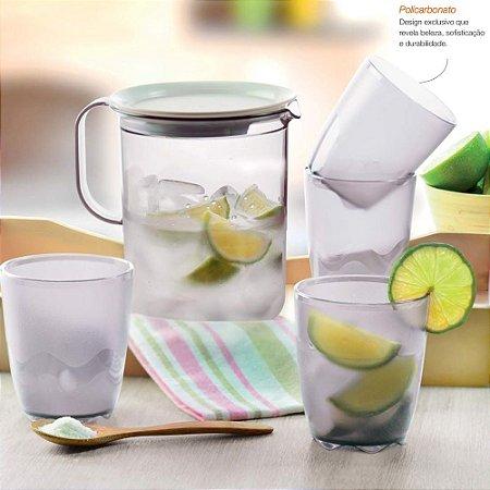 Tupperware Jarra + 4 copos Floresta Policarbonato Transparente e Branco