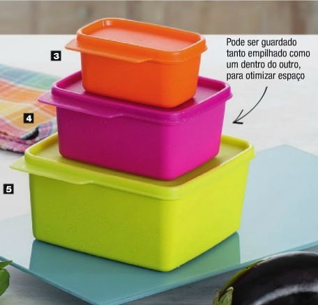 Tupperware Kit Basic Line Neon Coloridas 3 peças