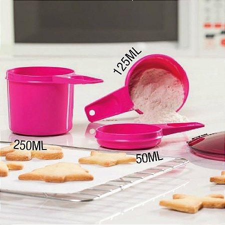 Tupperware Jogo de Xícara Medidas 50ml 125ml 250ml Rosa Pink