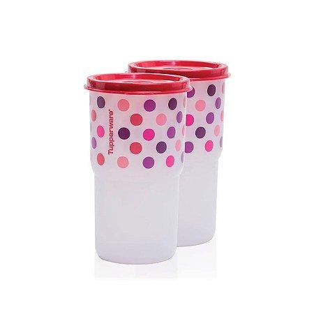 Tupperware Kit Copos Colors Poá 355ml 2 peças Vermelho