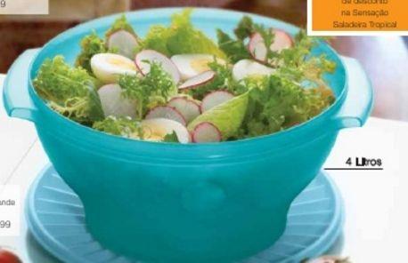 Tupperware Sensação Saladeira Verde Água