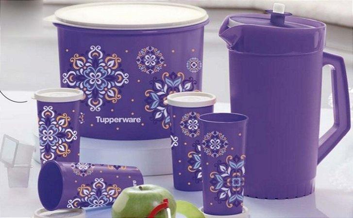 Tupperware Kit Caixa 5 Litros + Jarra 2 Litros + 4 Copos + 2 Cubos para gelo