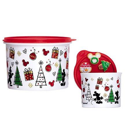Tupperware Caixa Natal Mickey 2,4 Litros + Redondinha Natal Mickey 500ml Kit 2 Peças