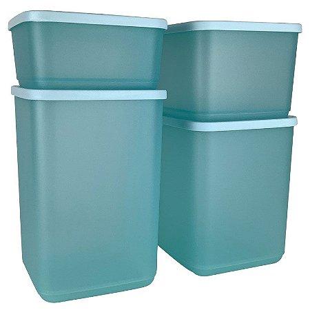 Tupperware Refri Line Quadrado Verde Kit 4 Peças