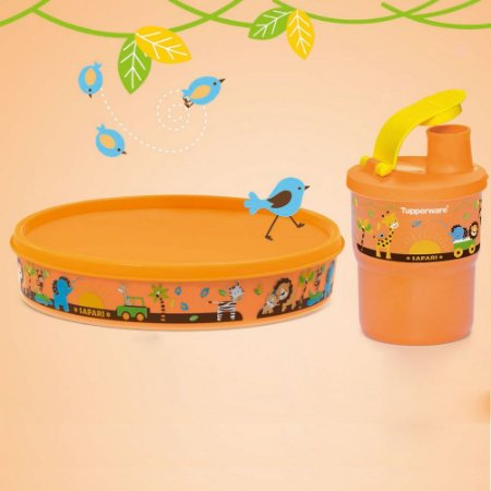Tupperware Copo Colors com Bico Baby 225ml + Pratinho Baby Safari 500ml kit 2 Peças