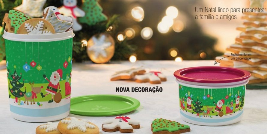 Tupperware Kit Instantânea Natal 2015 Verde e Vermelho 2 peças