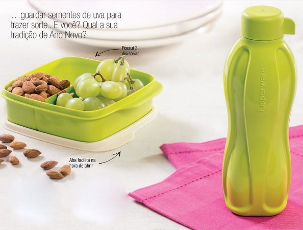 Tupperware Eco Tupper Garrafa + Basic Line com Divisória Verde Opaca Kit 2 peças