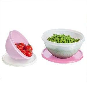 Tupperware Par Perfeito Maravilhosa 1litro + 500ml Kit 2 peças Rosa Bebê e Branco
