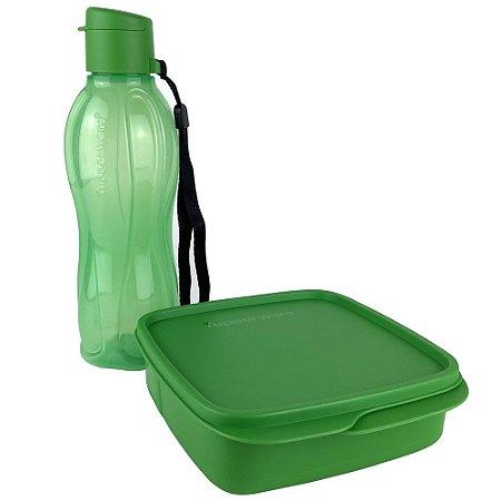 Tupperware Eco Tupper Plus 500ml + Basic Line com Divisórias 550ml Verde kit 2 Peças