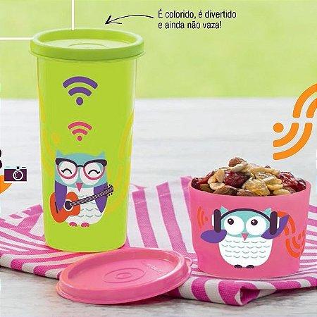 Tupperware Kit Coruja Copo + Potinho 2 peças