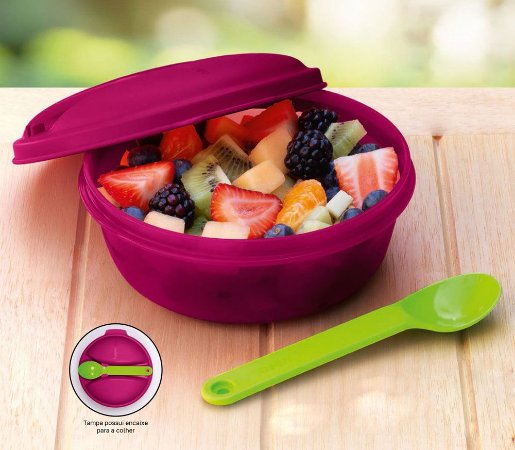 Tupperware Marmitup Snack 600ml Rosa + Colher