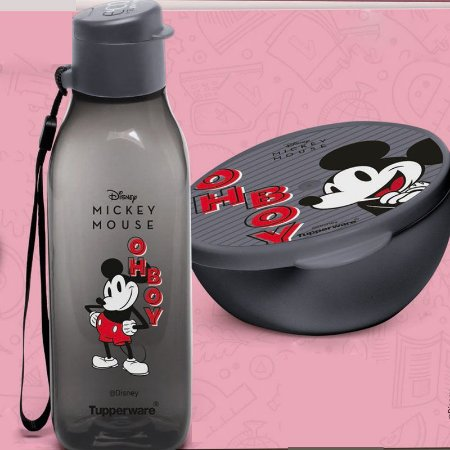Garrafa Tupperware Eco Tupper Quadrada 500ml + Pote Redondo 300ml Mickey Retrô Kit 2 Peças