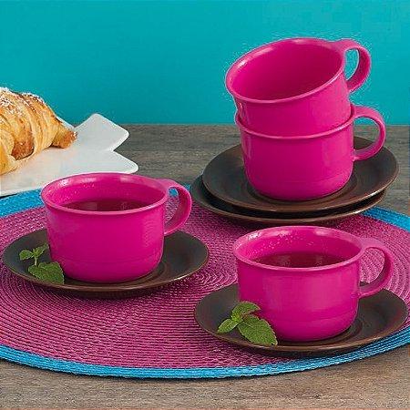 Tupperware Xícara Rosa com Pires Marron 150 ml 4 peças