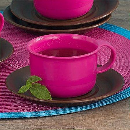 Tupperware Xícara Rosa com Pires Marrom 150ml