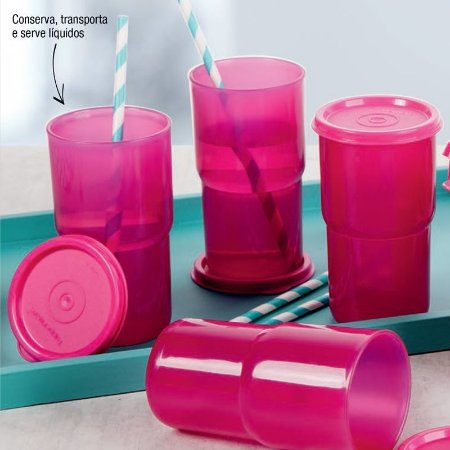 Tupperware Kit Copos Colors 355 ml Rosa 4 peças
