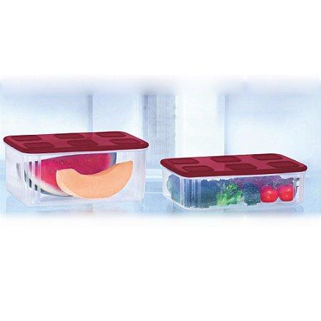 Tupperware Tupperfresh Retangular Baixo Kit 2 Peças